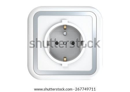 Power socket with ground pin isolated on white background