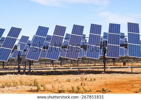 Power solar panel system at spanish desert  - stock photo