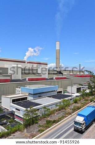 power station and truck - stock photo