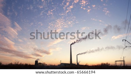 Power station at dusk - stock photo