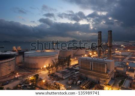 Power Station at dusk in Hong Kong - stock photo