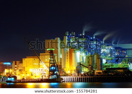 power station at night, hong kong - stock photo