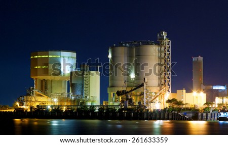 power station at night with smoke , hong kong - stock photo