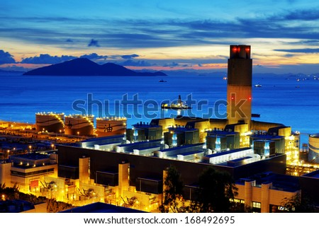 power station at sunset - stock photo