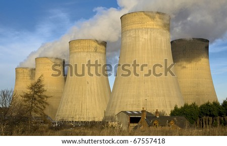 Power Station Cooling Towers, Ratcliffe-On-Soar, Nottinghamshire - stock photo