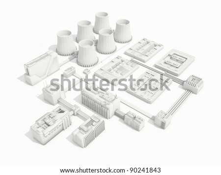 Power station in an projection - stock photo