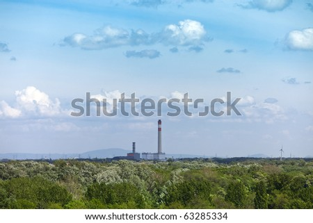 power station in natural land state