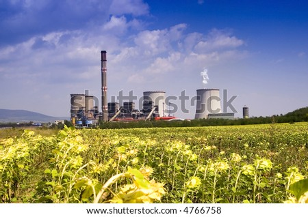 Power station in the rural - stock photo