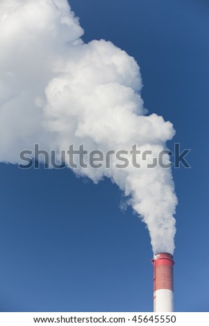 Power station. Industrial production. smoke from pipe