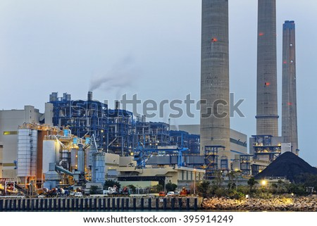 Power station industry building , petrochemical plant with lots of pipes