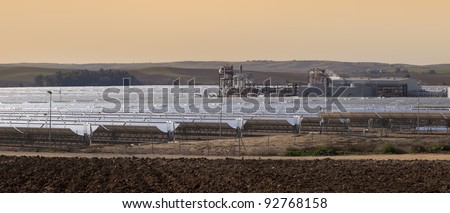 power station of solar parabolic energy near Seville, Andalusia, Spain - stock photo