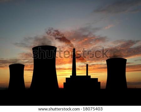 Power station over orange sky - stock photo