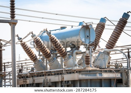 Power Station. Transformers and connections in a power plant. - stock photo