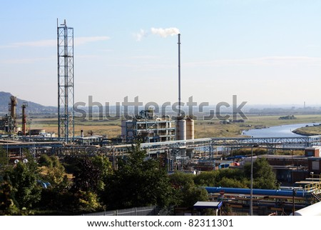 power station with smoking chimney