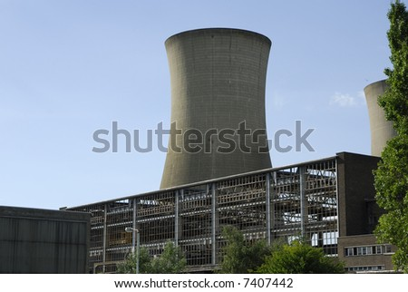 Power stations cooling tower in Pegwell Bay, Kent, UK, viewed from close up. - stock photo