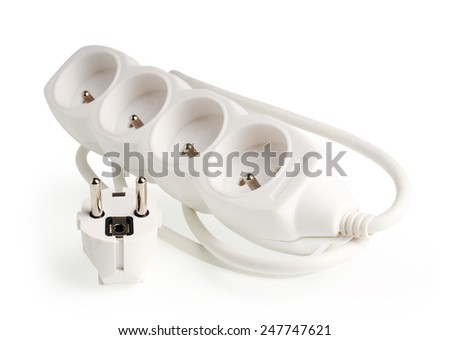 Power strip. Isolated with clipping path.