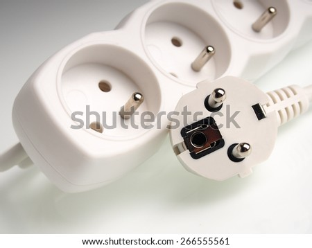Power strip. Isolated with clipping path. - stock photo