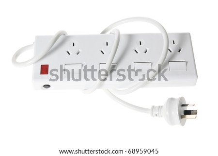 Power Strip on White Background - stock photo