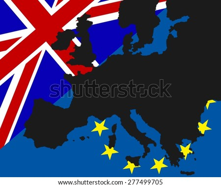 Power struggle between the UK and Europe The black map of Europe has been deposited with the flags of Britain and Europe  - stock photo