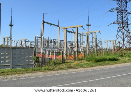 Power substation. Small distributive power substation in the settlement. - stock photo