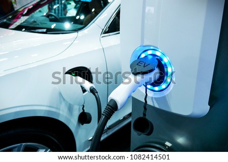 power supply connect electric vehicle chargeの写真素材 ロイヤリティ