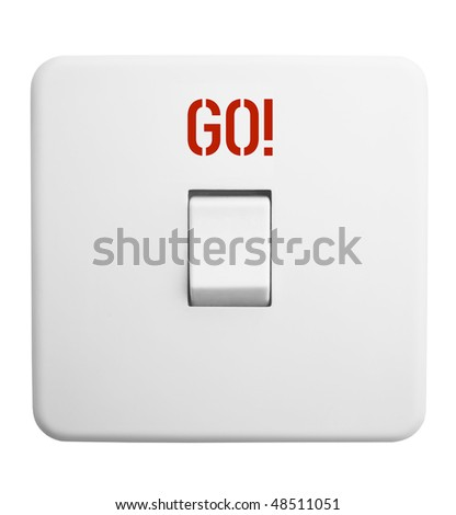 """Power switch with caption,""""GO!"""" isolated on white background - stock photo"""
