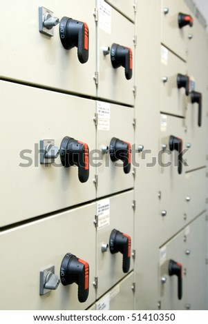 Power switches cabinet - stock photo