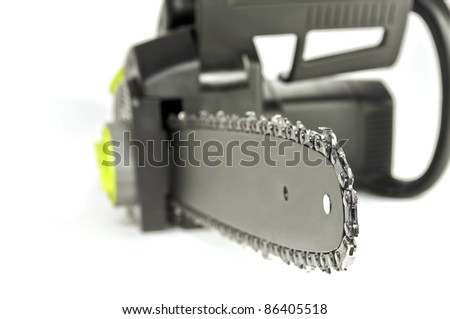Power tool, close up of a chainsaw on white background. - stock photo