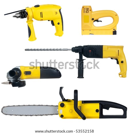power tools set isolated on a white background - stock photo