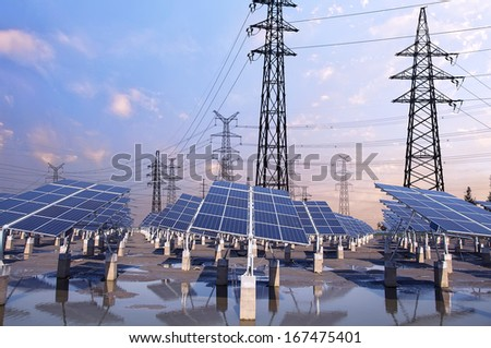Power Tower and Photovoltaic solar - stock photo