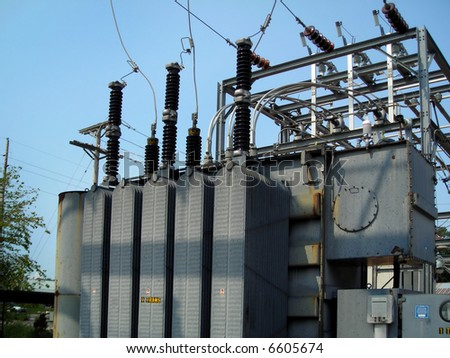 Power Transformer, Distribution Substation - stock photo