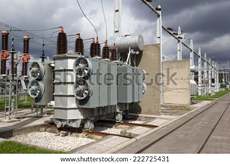 power transformer in high voltage substation - stock photo