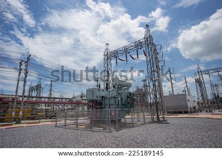 Power transformer in substation - stock photo