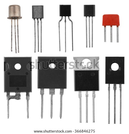 power transistors isolated on a white background - stock photo