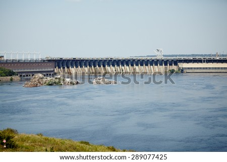 Power Transmission Line. Dnieper hydro power plant. Thermal energy. Factory, power plants and industrial buildings.