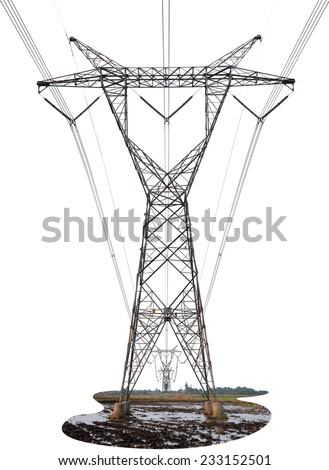 Power Transmission Line isolated on white background. This has clipping path. - stock photo