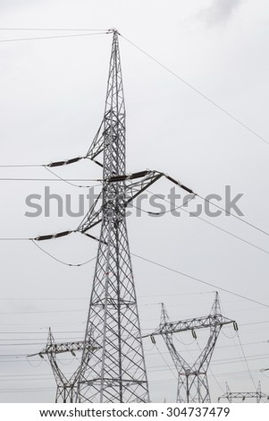 Power transmission lines  - stock photo