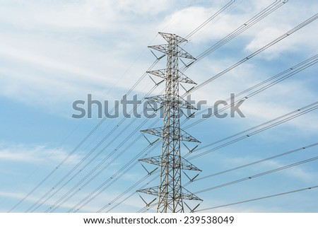 Power transmission lines against blue sky / Power transmission lines