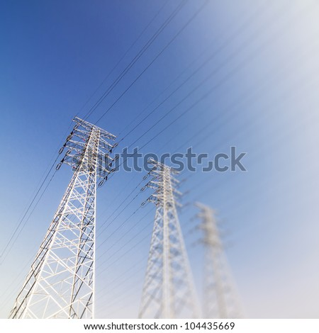 Power Transmission Tower  Group Of The Sunset - stock photo