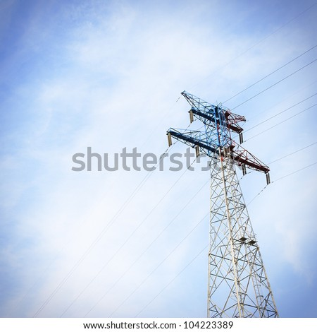 Power Transmission Tower  Of The Sunset - stock photo