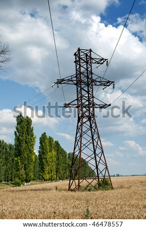 power transmission tower on field