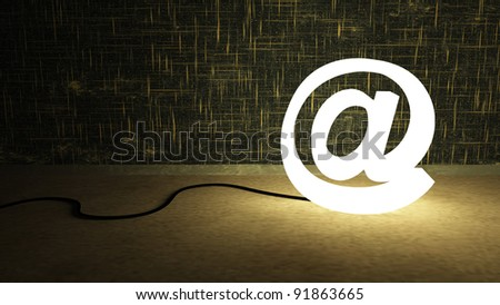 Powered at symbol shaped lamp - stock photo
