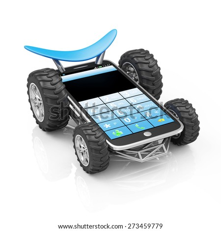 Powerful and Reliable Smart Phone or Delivery of Mobile Devices Concept. Modern Touchscreen Smartphone on Wheels isolated on white reflective background - stock photo