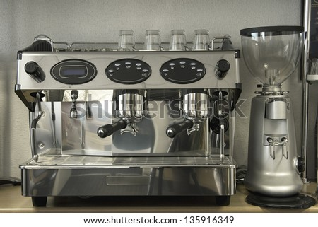 Powerful automatic espresso and cappuccino machine - stock photo
