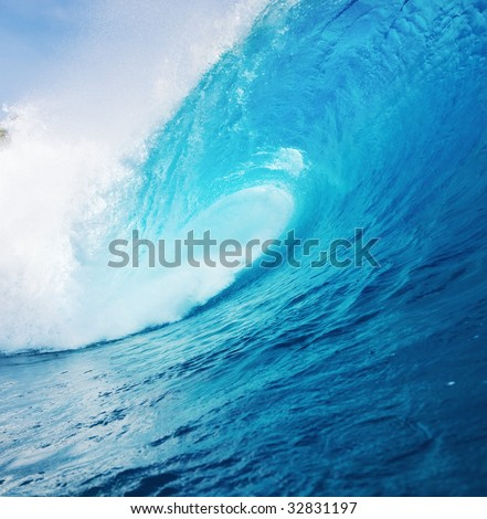 Powerful Blue Ocean Wave - stock photo