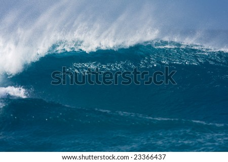 Powerful Blue Wave, Maui, Hawaii - stock photo