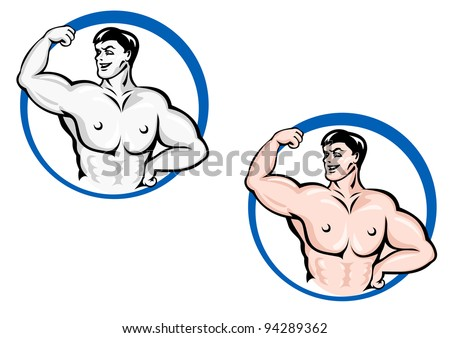 Powerful bodybuilder with muscles for sports design. Vector version also available in gallery - stock photo