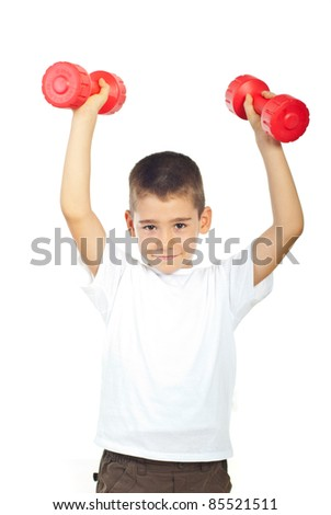 Powerful boy lifting two red dumbbell isolated on white background - stock photo