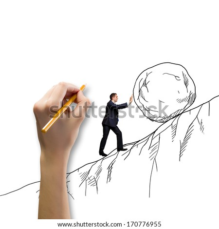 Powerful businessman rolling huge stone up on hill - stock photo