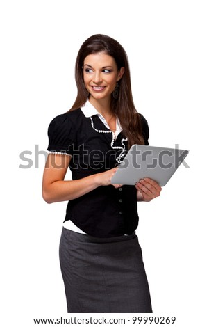 Powerful businesswoman manages global team from her touchsreen device. - stock photo